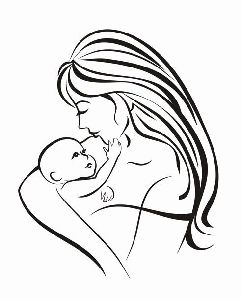 母子手绘意境图片